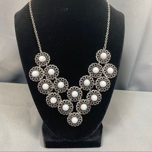 COLORS White & Silver Flower Statement Neck…